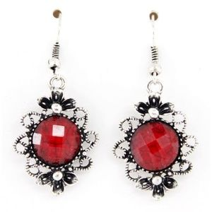 Red Jeweled Dangle Earrings